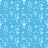 Light bulbs blue seamless pattern with flat line icons. Led lamps types, fluorescent, filament, halogen, diode and other. Illumination. Modern background with Stock Photo