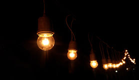Light bulbs are bright at night time Royalty Free Stock Photos