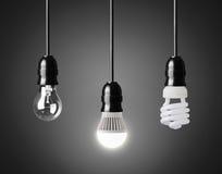 Light bulbs. Light bulb,energy saver bulb and LED bulb on black stock photo