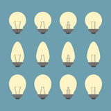 Light bulbs and Bulb icon set  Stock Images