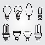 Light bulbs. Bulb icon set. Lamps collection royalty free stock images