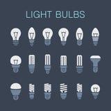 Light bulbs. Bulb icon set Royalty Free Stock Photography
