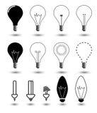 Light bulbs. Bulb icon set. Set bulbs on a white background Stock Photos
