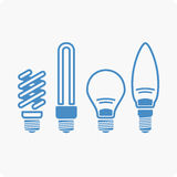 Light bulbs. Bulb icon set. Set of vector icons bulbs of different shapes and sizes Royalty Free Stock Photo