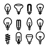 Light bulbs. Bulb icon set 2. Vector Royalty Free Stock Photography