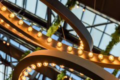 Light Bulbs On Ceiling Stock Photos