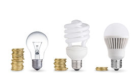 Light bulbs and coins Royalty Free Stock Photos