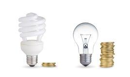 Light bulbs and coins Royalty Free Stock Photos