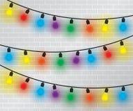 Light Bulbs Collection on brick wall Royalty Free Stock Photos