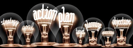 Light Bulbs with Action Plan Concept