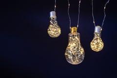 Light bulbs on dark background