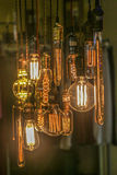 Light bulbs decoration (Front focus). Light bulbs in different shapes (Light decoration Royalty Free Stock Photography