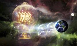 Light bulbs Earth Galaxy Royalty Free Stock Photos
