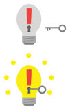 Light bulbs with exclamation marks and keyholes and key unlockin Stock Images