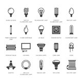 Light bulbs flat glyph icons. Led lamps types, fluorescent, filament, halogen, diode and other illumination. Thin linear. Signs for idea concept, electric shop Royalty Free Stock Image