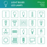 Light bulbs flat line icons. Led lamps types, fluorescent, filament, halogen, diode and other illumination. Thin linear. Signs for idea concept, electric shop Royalty Free Stock Photos
