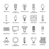 Light bulbs flat line icons. Led lamps types, fluorescent, filament, halogen, diode and other illumination. Thin linear. Signs for idea concept, electric shop Royalty Free Stock Photography