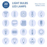Light bulbs flat line icons. Led lamps types, fluorescent, filament, halogen, diode and other illumination. Thin linear Royalty Free Stock Photography