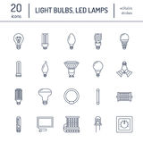 Light bulbs flat line icons. Led lamps types, fluorescent, filament, halogen, diode and other illumination. Thin linear Royalty Free Stock Image