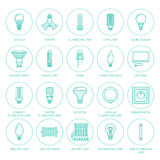 Light bulbs flat line icons. Led lamps types, fluorescent, filament, halogen, diode and other illumination. Thin linear Stock Images
