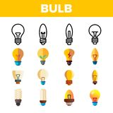 Light Bulbs Flat And Linear Icons Vector Set royalty free illustration