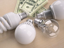 Light bulbs in front of dollar bill stack Royalty Free Stock Photo