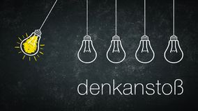 Light bulbs - german text: denkansto. Light bulb at a chalkboard, one glowing. German text: denkanstoß. Translation: food for thought stock illustration