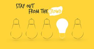 Light bulbs with glowing one different idea on light yellow background , stock illustration