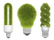 Light bulbs with grass Stock Photo
