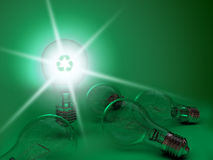 Light bulbs on green Royalty Free Stock Photos