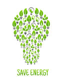 Light bulbs with green plants in a shape of lamp Royalty Free Stock Photos
