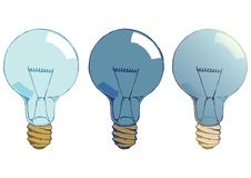 Light bulbs hand drawn, isolated Royalty Free Stock Images