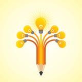Light-bulbs hands make pencil Stock Photography