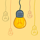 Light Bulbs Hanging From Above Stock Photo