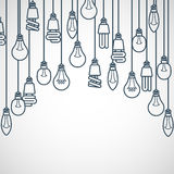 Light bulbs hanging on cords. Semicircle lamp frame Stock Photos
