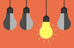 Light bulbs hanging Stock Photo