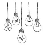 light bulbs hanging icon Royalty Free Stock Image