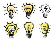 Light bulbs icon. Vector black light bulbs icon set on white Royalty Free Stock Image
