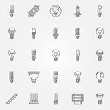 Light bulbs icons set Royalty Free Stock Images