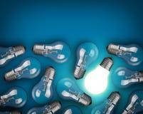 Light bulbs. Idea concept with light bulbs on blue background Royalty Free Stock Photo