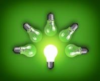 Light bulbs. Idea concept with row of light bulbs and glowing bulb Stock Image
