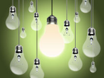Light bulbs with Idea Conzept Stock Images