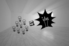 Light bulbs and idea in white room Stock Images