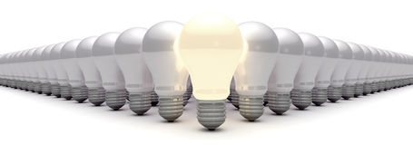 Light bulbs and ideas Royalty Free Stock Images