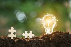 Light bulbs, ideas of new ideas with innovative technology and c. Reativity Stock Images
