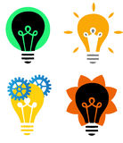 Light bulbs. Illustration of 3 light bulbs , concepts and ideas Stock Photos