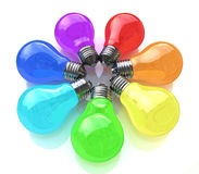 Light bulbs kaleidoscope of rainbow colors Stock Images