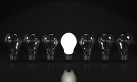 Light Bulbs in line Stock Images