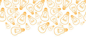 Light bulbs line art horizontal seamless pattern Royalty Free Stock Photo