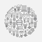 Light bulbs linear illustration Royalty Free Stock Photos